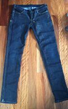 KSUBI Super Skinny Zip Dark Denim Jeans In 'After Dark' Gold Stitching - Sz 29