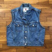 vtg 90s Levi's Jeans for Women Denim Vest size LARGE medium wash mom blue D319 p