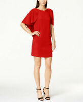 Calvin Klein Women's Straight Dress with Cascade Sleeve, Red, 8