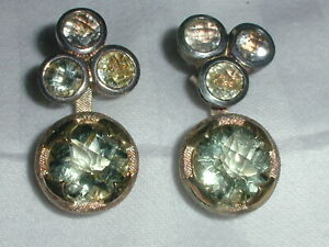 GORGEOUS~ STERLING 18K GOLD LARGE FACETED AQUAMARINE EARRINGS!
