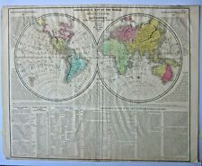 1821 Geographical World Map C Gros LaVoisne Explorers Routes New Holland Antique