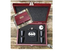 Deluxe Batman Inspired 6 Piece Flask Set Wood Box Groomsman Best Man Gift