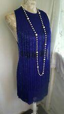 Vtg 1920,s style Downton peaky blue beaded fringed wedding dress size 8 uk