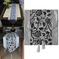 Tischband Tischdecke Läufer Silbergrau Tischdekor Quaste Tischläufer De NQQ IKU