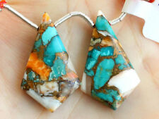 Copper Oyster Turquoise Smooth Kite Briolette Pair Beads (36020)
