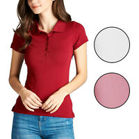 *CLEARANCE*Women's Basic Short Sleeve Solid Classic Jersey Polo Shirt Top