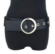 Ella Jonte Elastic Belt Black Silver Hip Belt 75-100 cm Faux Leather Belt