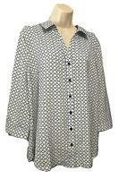 PRESCOTT NEW YORK Women's Blouse Plus 1X Roll Tab Sleeve Button Down Shirt