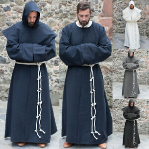 Mens Halloween Medieval Monk Priest Robe Cosplay Costume Party Hooded Shawl 3PCS