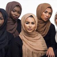Ladies Cotton Linen Maxi Crinkle Cloud Hijab Scarf Shawl Soft Islam Muslim Eager