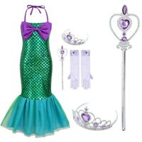Princess Girls Halter Mermaid Dress Set Halloween Outfit Party Cosplay Costume