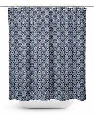 S4Sassy Blue Damask Floral Water Repellent Bath Shower Curtain With-ONn