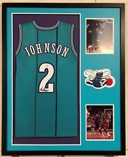 Larry Johnson Autographed Custom Framed Charlotte Hornets Jersey PSA/DNA COA