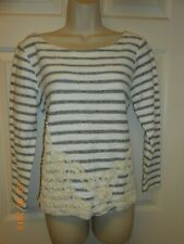 New Cute Cupio size L striped LS knit Top Embroidery hand stitched front