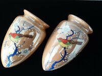 Pair Vintage Luster Ware Made Japan Floral Wall Pocket Ceramic Painted Antique