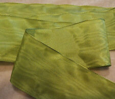 """2"""" WIDE GERMAN MOIRE RIBBON - RAYON - CHARTREUSE GREEN"""