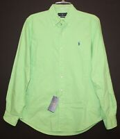 Polo Ralph Lauren Mens Lime Green Classic Fit Button-Front Shirt NWT Size S