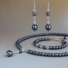 Dark grey pearl crystal collar necklace bracelet earrings wedding jewellery set