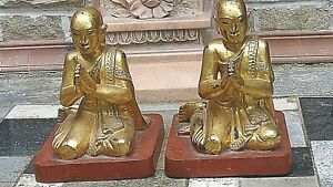 PAIR ANTIQUE 19c THAI WOOD CARVED GILT& LACQUERED PRAYING MONKS W/GLASS EYES