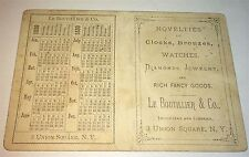 Rare Antique Victorian Calendar Watches & Diamond Jewelry Advertising Trade Card