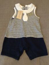 first impression unisex sunsuits navy blue white infant 3 to 6 month one piece