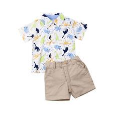 Kids Baby Boys Summer Clothes Dinosaur Tops Shirt+Shorts Gentleman Outfits Sets