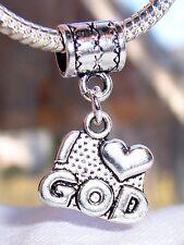 I Heart God Christian Words Gift Love Dangle Charm for European Bead Bracelets