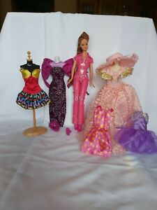 Vintage Mattel Barbie Doll Lot of Six Outfits Clothes Accessories and Barbie