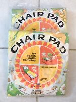 "VTG Deadstock Two Chaise LOT CHAIR PAD 17""x35"" Patio Lawn Green Yellow Flowers"