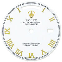 REFINED MENS Y-GOLD DAY-DATE WHITE ROMAN NUMERAL DIAL FOR ROLEX-36