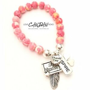 #1 Teacher Gifts Charm Bracelet Clover Inspire Thank You Angel Feather Charms