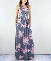 egs by éloges Women's Crew Neck Sleeveless Floral Tank Maxi Dress (Blue, L)