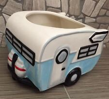 Ceramic Vintage Travel Trailer Planter NEW Color Blue Travel Trailor