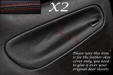 Rojo Stitch encaja Peugeot 206 3 Puertas 98-10 2x Puerta Trasera Tarjeta Cuero cubre sólo
