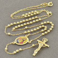 24 Inches 9K Yellow Gold Filled Rosary Pray Bead God Cross Men's Necklace,3mm