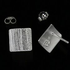 Sterling Silver Satin Square Stud Post Earrings Connector #97616