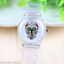 Gift Women Fashion Sport Silicon Transparent Quartz Watch Skull Wristwatch