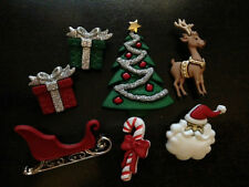 "Dress it Up ""Christmas Eve"" Buttons Santa Reindeer Tree Sleigh Presents"