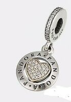Authentic Pandora Sterling Silver & 14K Gold Signature Heart Charm Dangle
