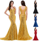 GOLD LONG Mermaid Bridesmaid Wedding Prom Gown Dress SEQUIN Party Evening Formal