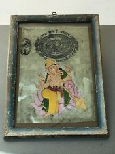 INDIAN MINIATURE PAINTING. HINDU DEITY GANESHA IN AUTHENTIC ART DECO FRAME.