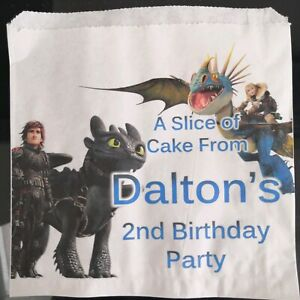 Personalised How to Train Your Dragon White Cake / Party Bags