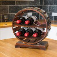 Wooden Quarter Barrel Wine Rack Free Standing Bottle Holder Oak Effect 6 Bottles