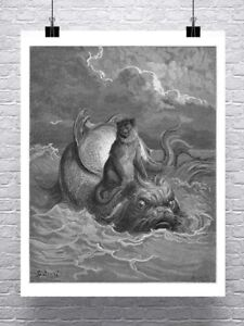 Monkey Riding A Sea Monster Gustave Dore Fine Art Canvas Giclee Print 24x29 in.
