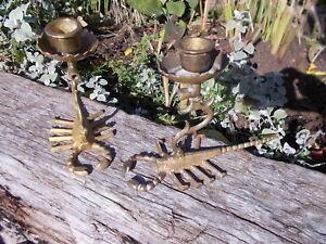 Pair Unusual Scorpion Decorative Vintage Brass Candle Holders Ref H1/2