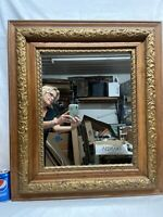 Vtg Antique Victorian Oak ORNATE Gold Painted Chalk Design Wood Framed Mirror