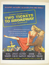 Vintage 1951 Lg Full Pg Magazine Movie Print Ad: TWO TICKETS TO BROADWAY