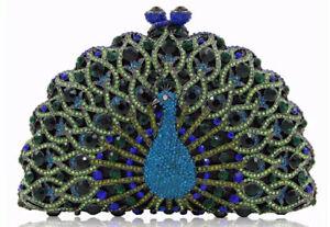 Peacock of Paradise Handbag Purse Clutch Christal Couture w- Swarovski Crystals