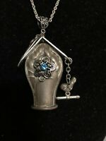 Handcrafted Silverware Jewelry Birdhouse Pendant