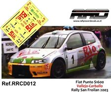 DECAL/CALCA 1/43; Fiat Punto S1600; Vallejo-Carballo; Rally San Froilan 2003